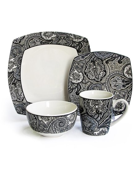 Black Paddock Shawl 16-Piece Dinnerware Set