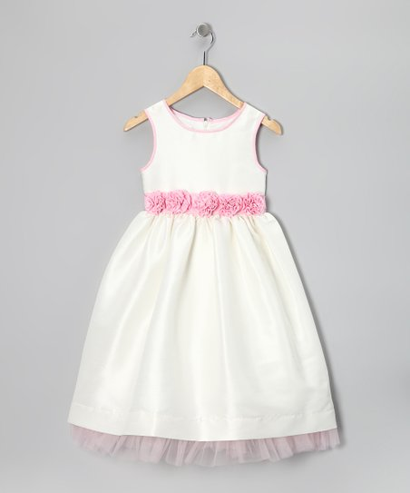 White & Petal Pink Rosette Dress - Toddler & Girls
