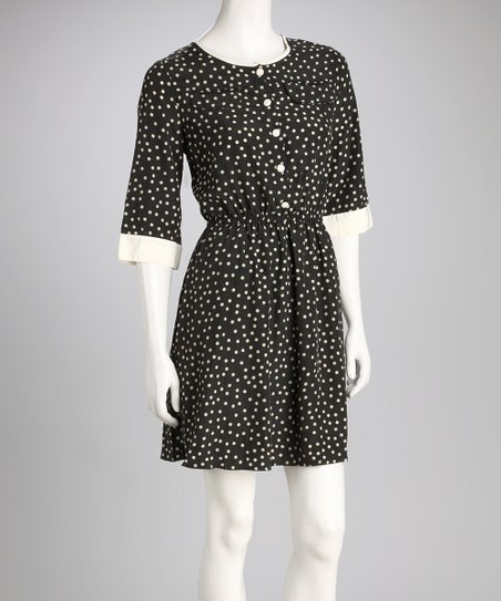 Black &amp; White Polka Dot Dress