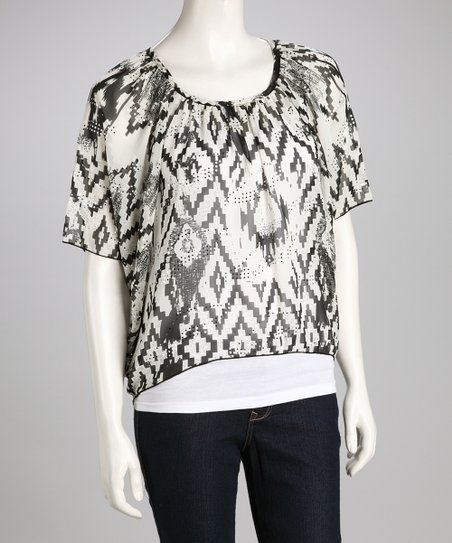 Black Tribal Hi-Low Cape-Sleeve Top