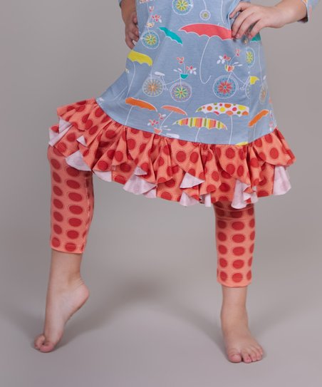 Peach Polka Dot Umbrella Leggings - Infant