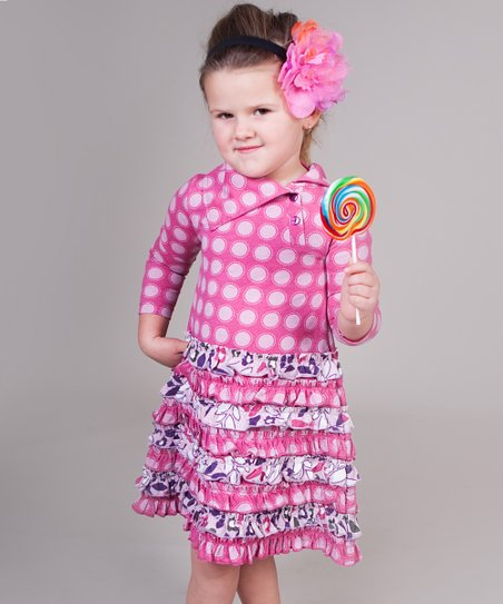 Pink & Purple Owls Trisha Dress - Girls