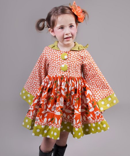 Orange & Green Maple Hannah Dress - Toddler & Girls