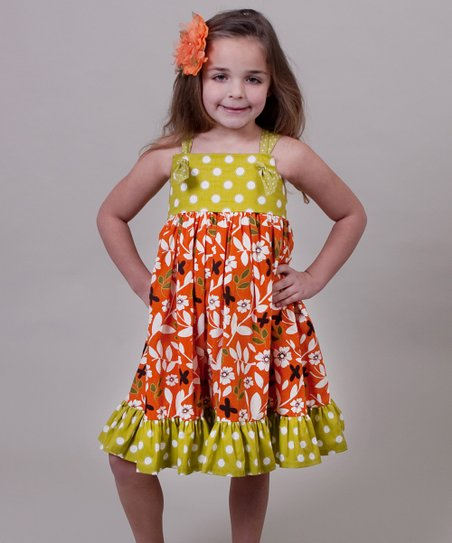Orange & Green Maple Bella Knot Dress - Toddler & Girls