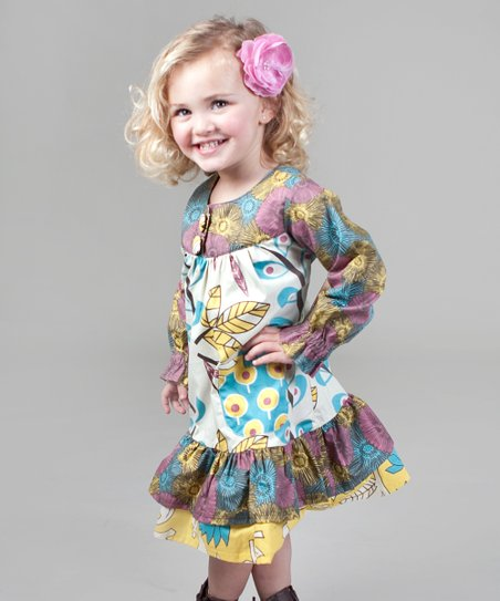 Yellow & Aqua Dazzle Renee Ruffle Dress - Girls