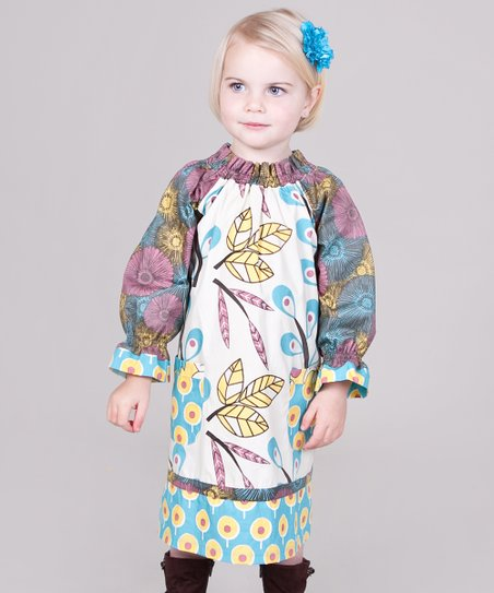 Yellow &amp; Aqua Dazzle Peasant Dress - Infant, Toddler &amp; Girls