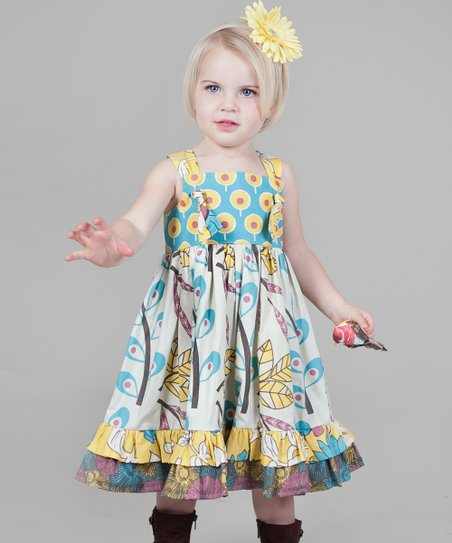 Yellow & Aqua Dazzle Bella Knot Dress - Girls