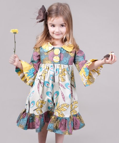 Yellow & Aqua Dazzle Lilly Dress - Girls