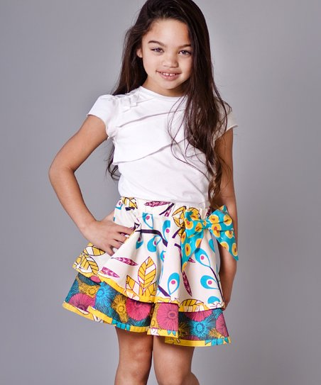 White Tee & Aqua Dazzle Claire Skirt - Girls