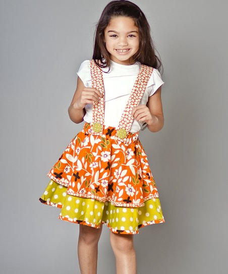 Orange & Green Maple Stela Tee & Skirt - Girls