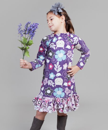 Pink & Purple Owls Chloe Dress - Infant & Girls