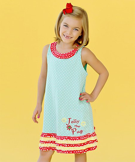 Aqua Polka Dot 'Jelly' Yoke Dress - Infant, Toddler & Girls