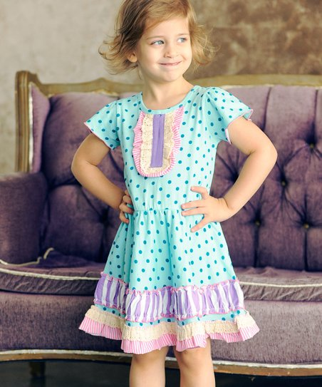 Aqua Sweetheart Henley Dress - Infant, Toddler & Girls