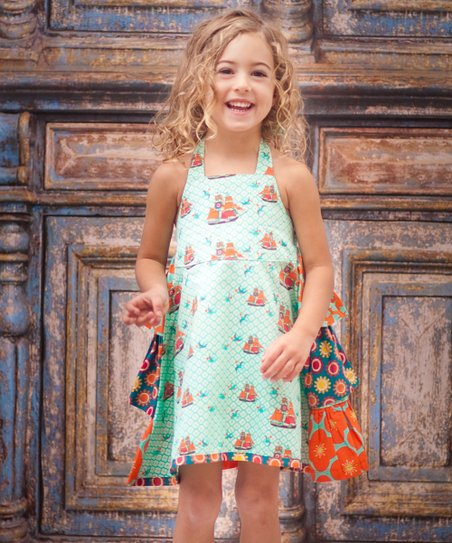 Aqua Sailboat Ruffle Dress - Infant, Toddler & Girls