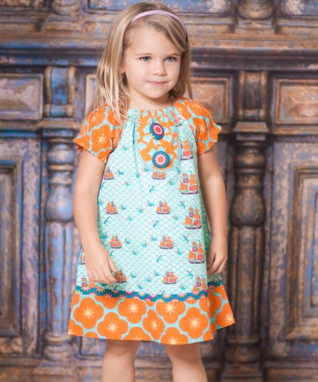 Aqua Sailboat Peasant Dress - Infant, Toddler & Girls