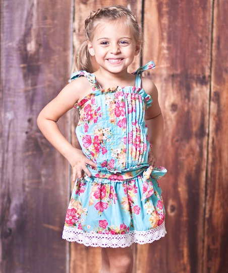 Blue Floral Country Fair Dress - Toddler & Girls