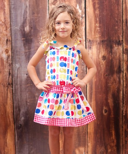 Rainbow Polka Dot Country Fair Dress - Toddler & Girls