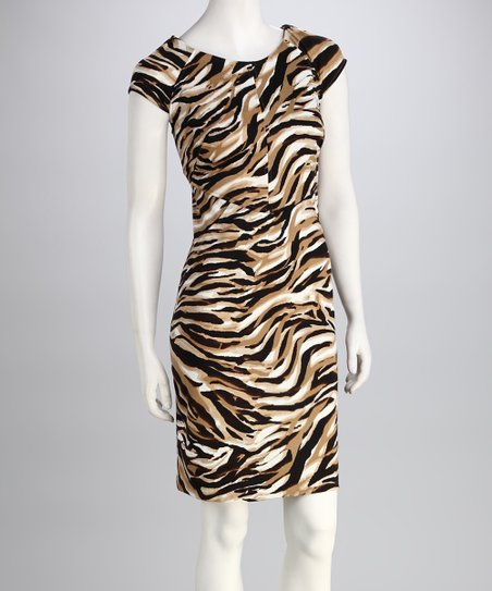 Brown & Tan Abstract Safari Ponte Dress