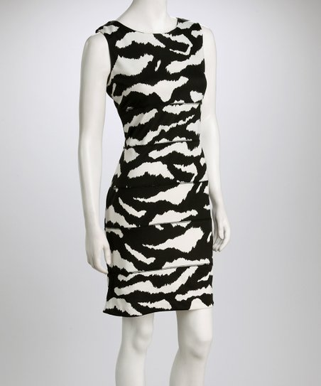 Cream & Black Animal Horizontal Seam Ponte Dress