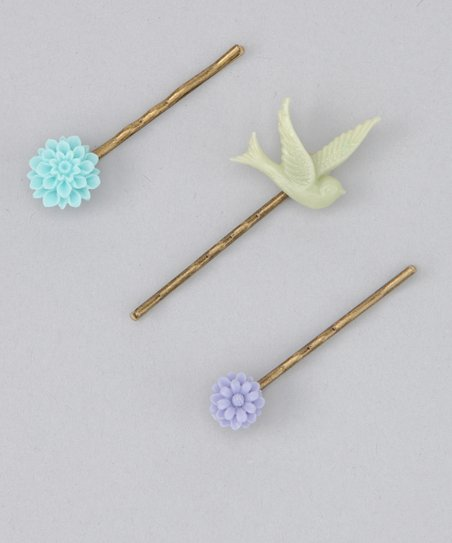 Green Bird Hair Pin Set