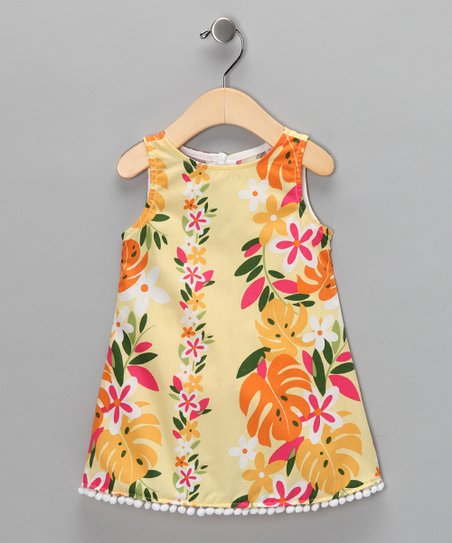 Yellow Tropical Pom-Pom Dress - Infant, Toddler & Girls