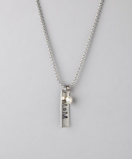 Silver Hand-Stamped 'Mom' Necklace