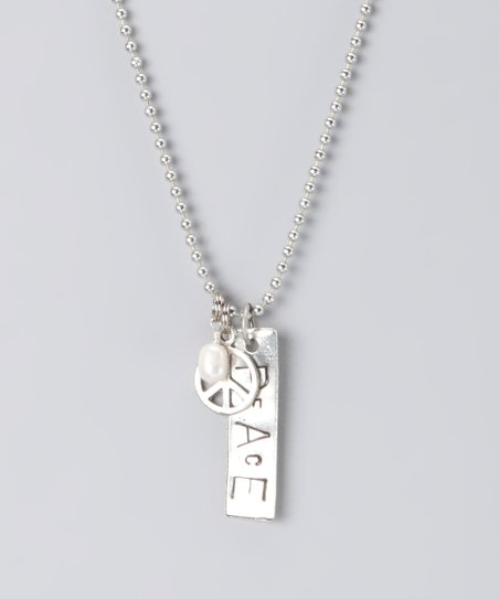 Silver Hand-Stamped &#039;Peace&#039; Necklace