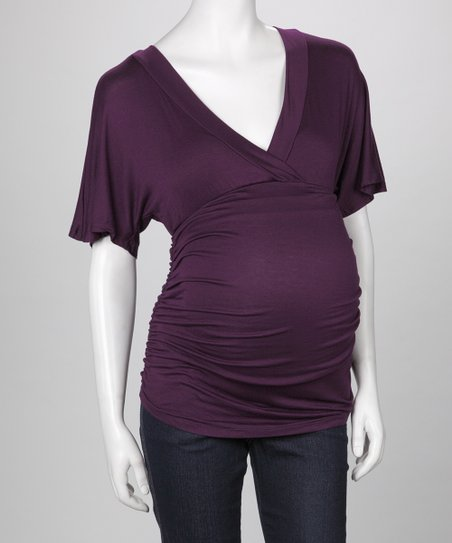 Purple Ruched Maternity Top