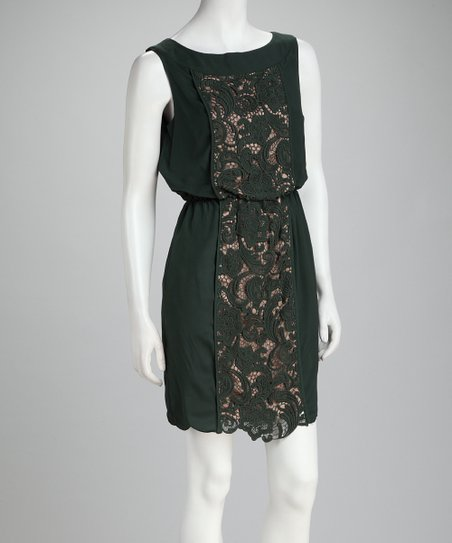 Dark Green Lace Blouson Dress