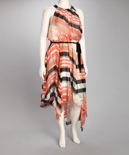 Orange Abstract Stripe Dress - Plus