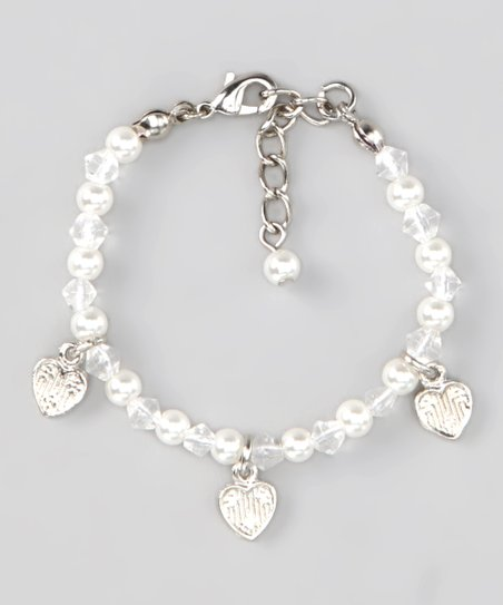 White Glass Hearts Pearl Bracelet