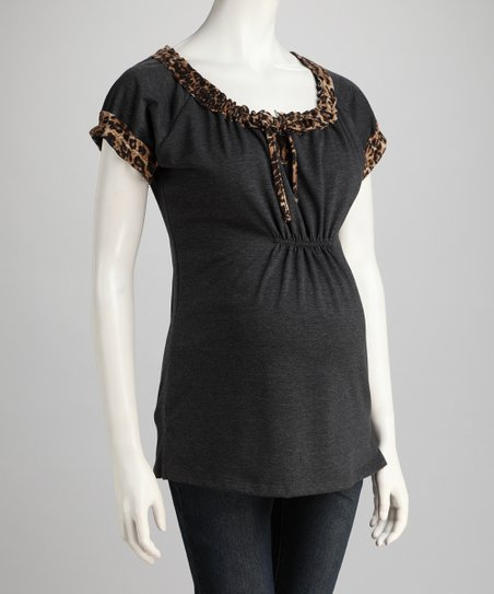 Gray Leopard Cinched Maternity Top