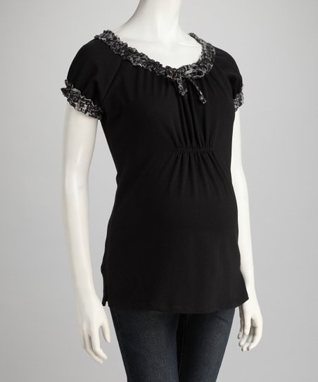 Black Leopard Cinched Maternity Top