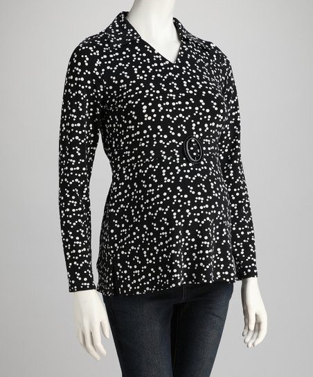 Black & White Polka Dot Maternity Top