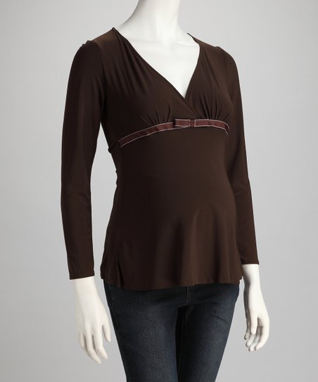 Brown Leonardo Maternity Surplice Top
