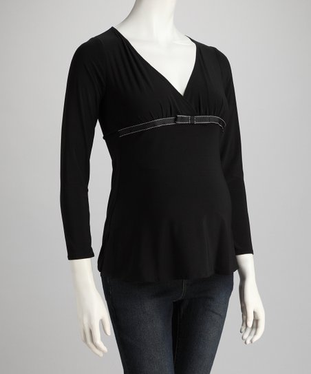 Black Leonardo Maternity Surplice Top