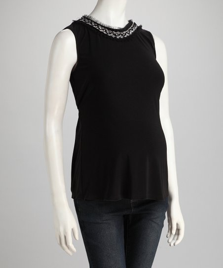 Black Embellished Maternity Sleeveless Top