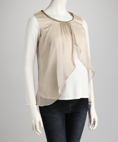 Cream Flutter Maternity Top