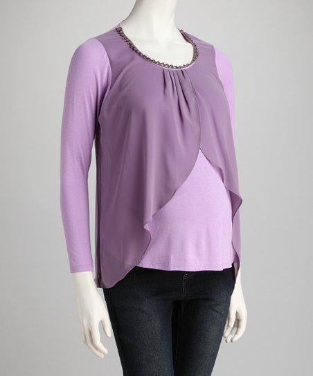 Lilac Flutter Maternity Top