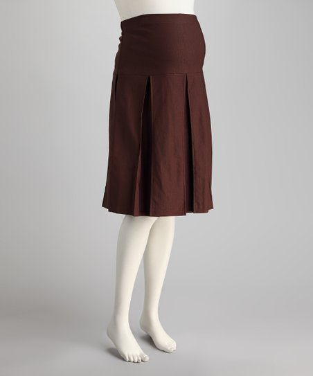 Brown Over-Belly Maternity Pleated Skirt