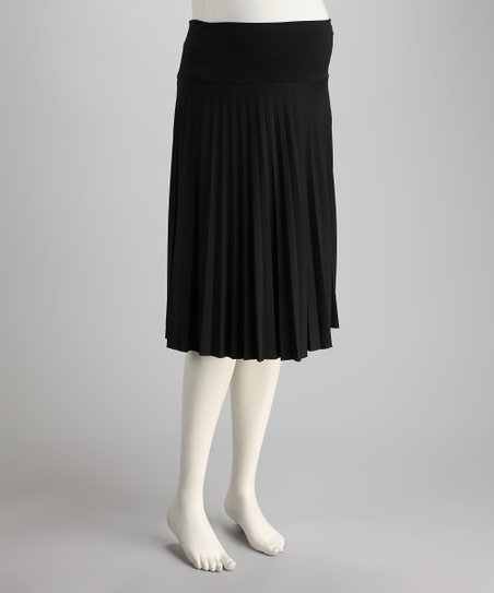 Black Slinky Mid-Belly Maternity Accordion Pleated Skirt