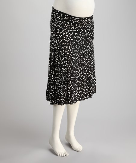 Black Polka Dot Under-Belly Maternity Accordion Pleated Skirt