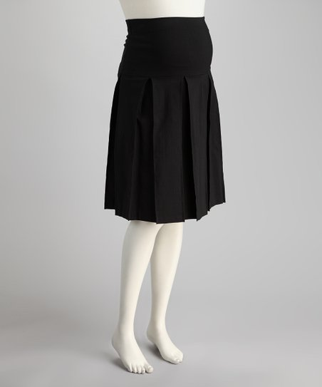 Black Over-Belly Maternity Pleated Skirt