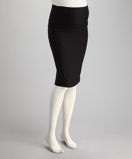 Black Long Sarah Mid-Belly Maternity Pencil Skirt