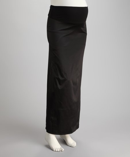 Black Mid-Belly Maternity Maxi Skirt
