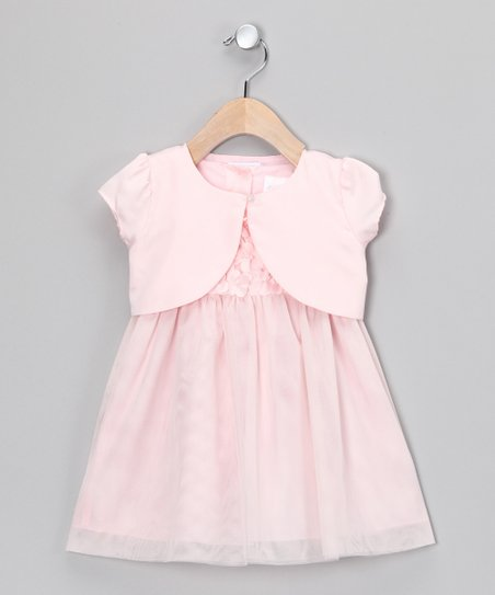 Light Pink Petal Babydoll Dress & Shrug - Infant