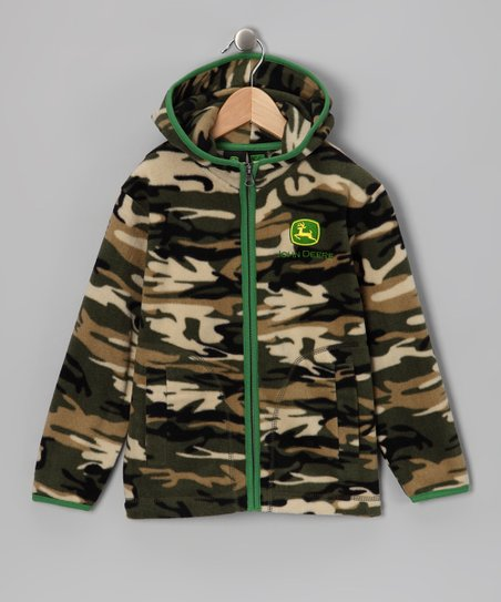Camo Logo Fleece Zip-Up Hoodie - Boys