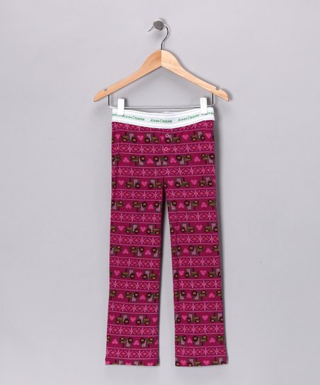 New York-Designed Fuchsia Fleece Pajama Pants - Girls
