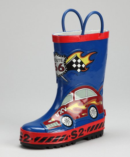 Red & Blue Racecar Rain Boot