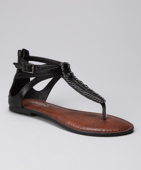 Black Triple-Strap Gladiator Sandal